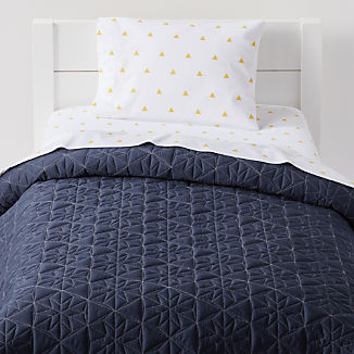 Yellow Triangle Toddler Bedding
