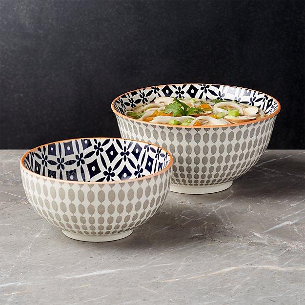 Yuki Grey Bowls - Image 1 of 8