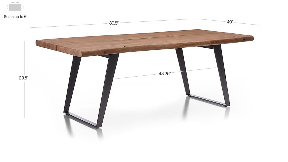 "Image with dimension for Yukon Natural 80"" Dining Table"