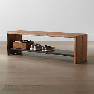 Yukon Natural Entryway Bench with Shelf