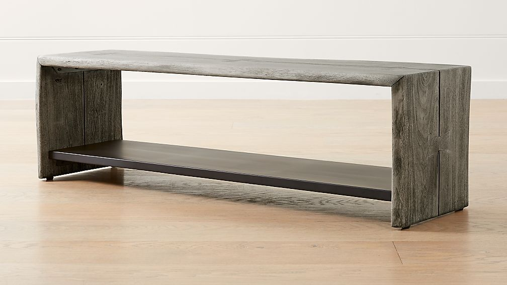 Yukon Grey Entryway Bench with Shelf - Image 1 of 9