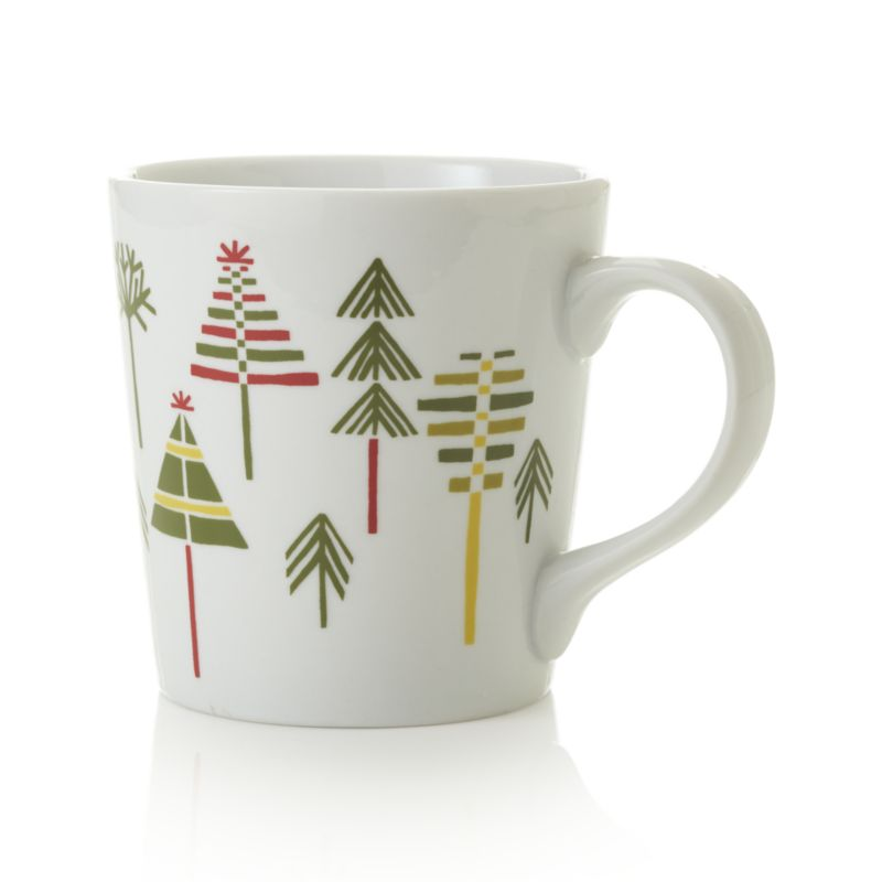 A thicket of graphic evergreens makes a festive stand on white porcelain mugs just waiting for a fill of steaming coffee or hot chocolate.<br /><br /><NEWTAG/><ul><li>Porcelain</li><li>Decal decoration</li><li>Dishwasher-, microwave- and oven-safe to 350 degrees</li><li>Made in China</li></ul>