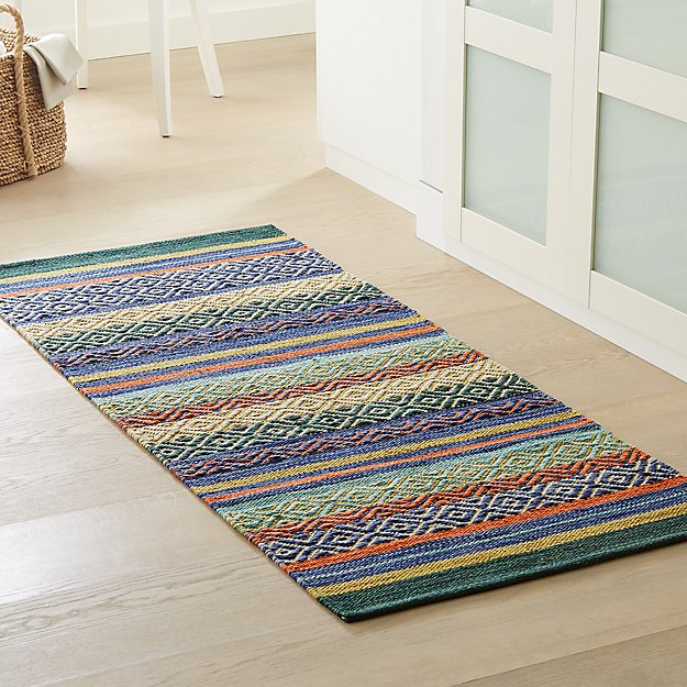Yumi Blue Multi-Color Rag Rug Runner - Image 1 of 3