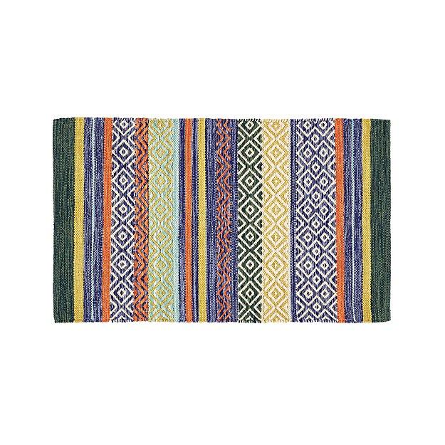 """Rag Rug Prices: Yumi Blue Multi-Color Rag Rug 30""""x50"""" + Reviews"""