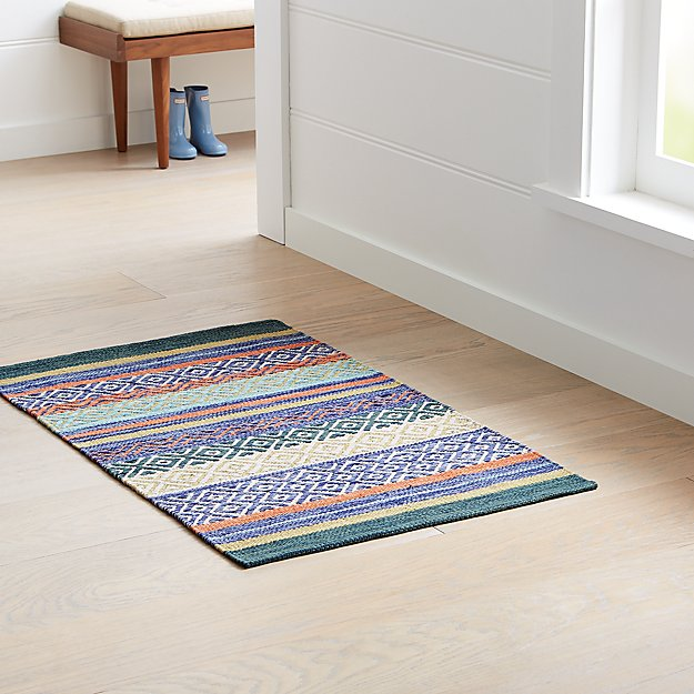 Yumi Blue Multi Color Rag Rug Crate And Barrel