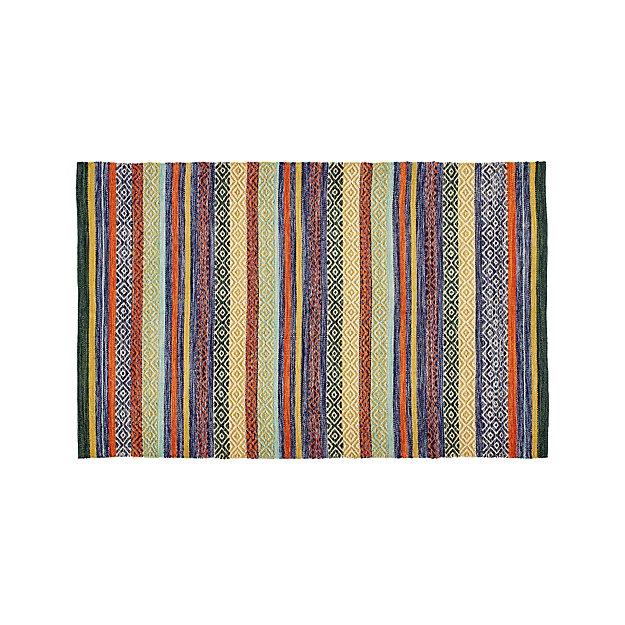 Rag Rug Prices: Yumi Blue Multi-Color Rag Rug 5'x8' + Reviews