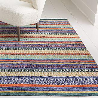 Yumi Blue Multi-Color Rag Rug