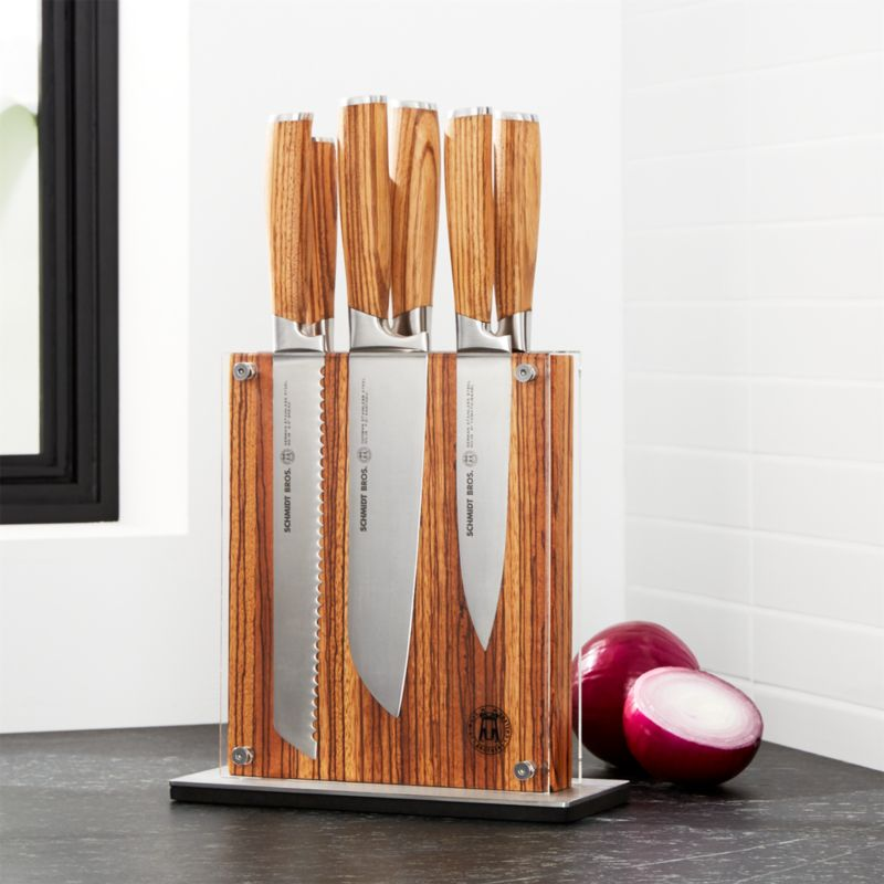 Schmidt Brothers 7 Piece Zebra Wood Knife Block Set