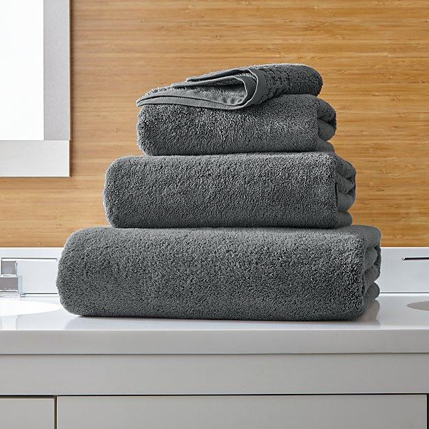 Zero Twist Quick Dry Dark Grey Bath Towels - Image 1 of 6