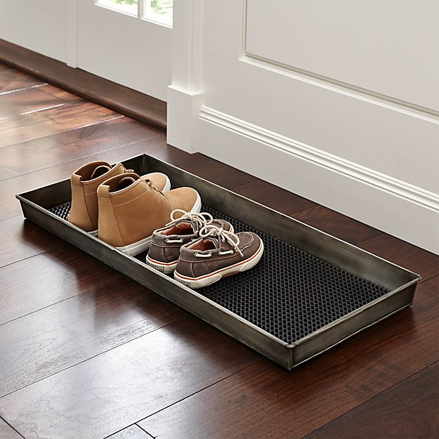 Zinc Boot Tray with Liner | Crate and Barrel