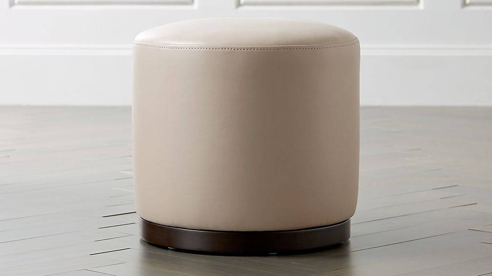 Zoey Leather Swivel Ottoman - Image 1 of 5