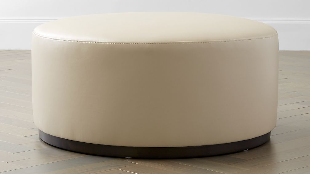 Zoey Leather Cocktail Ottoman - Image 1 of 4