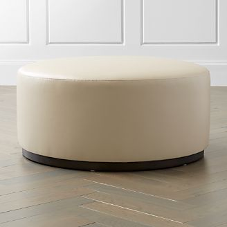 Zoey Leather Cocktail Ottoman