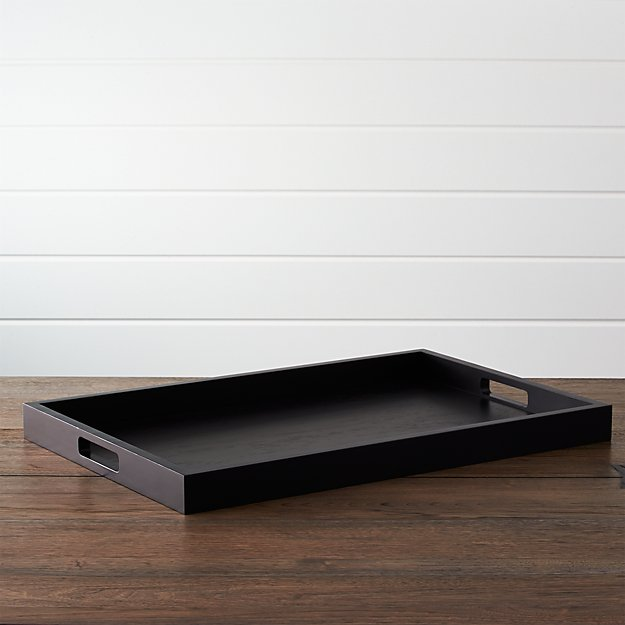 Zuma Black Rectangular Tray