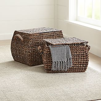 Zuzu Rectangular Handwoven Basket With Lid