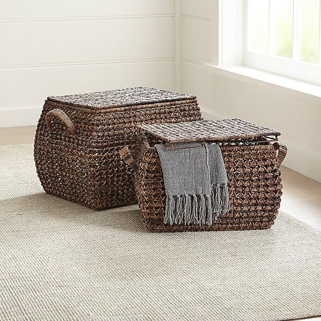 Zuzu Rectangular Handwoven Basket with Lid - Image 1 of 9