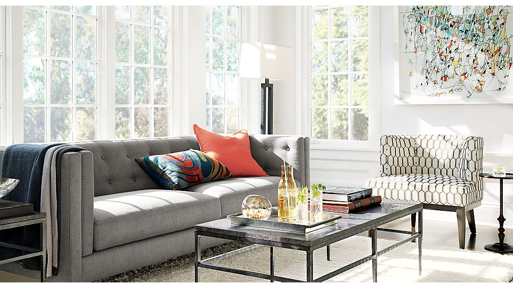 Aidan Grey Herringbone Sofa Crate and Barrel