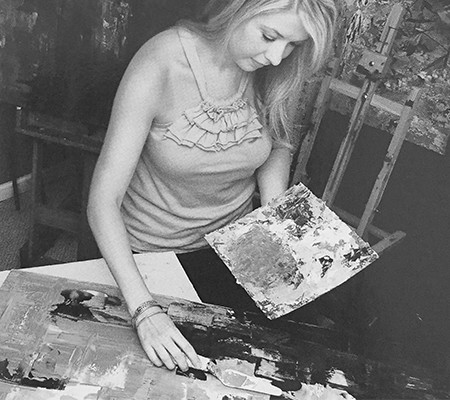 Melissa working in her studio