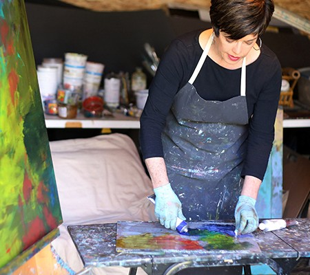 Lisa working in her studio