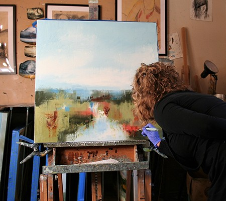 Ronda working in her studio