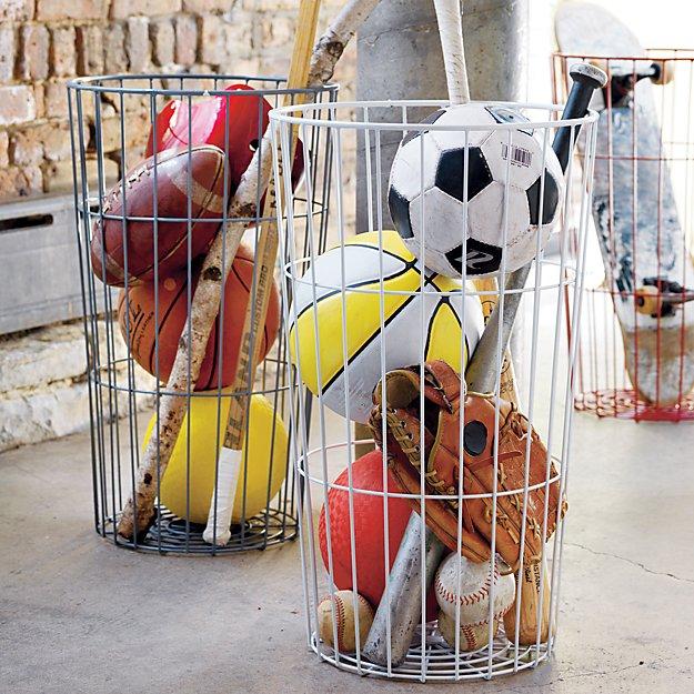 Ball Organizer Garage: Grey Wire Ball Bin In Bins & Baskets + Reviews