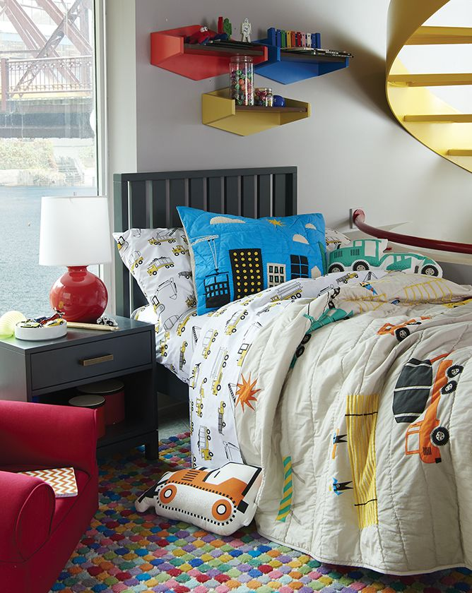 Boys construction themed bedroom crate and barrel for Boys construction bedroom ideas
