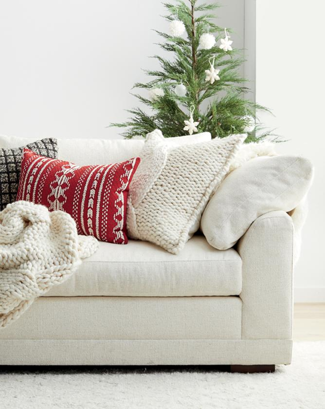 living room with peyton sofa with christmas decor