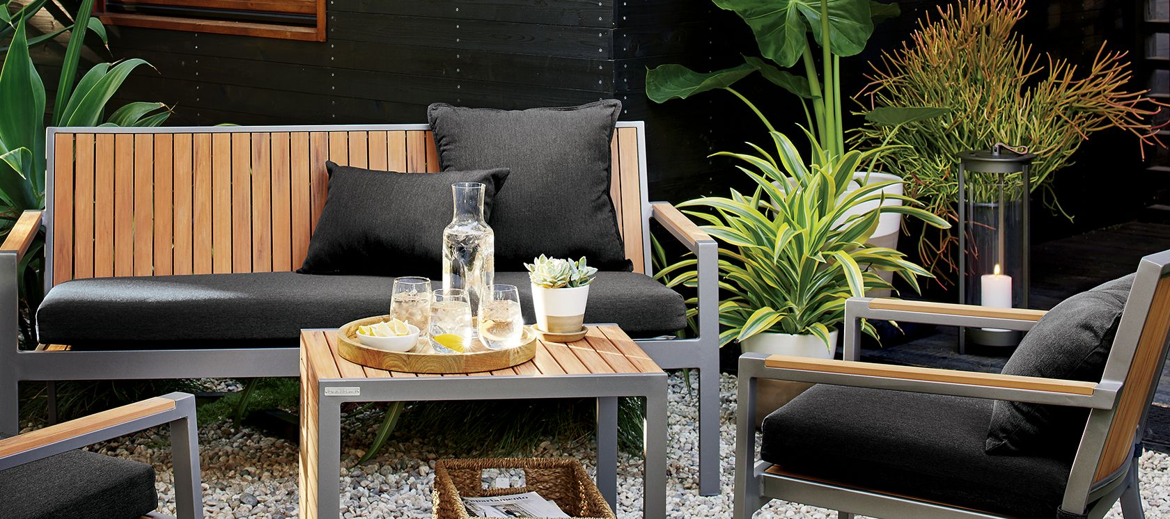 Sale outdoor furniture by material crate and barrel for Low maintenance outdoor furniture