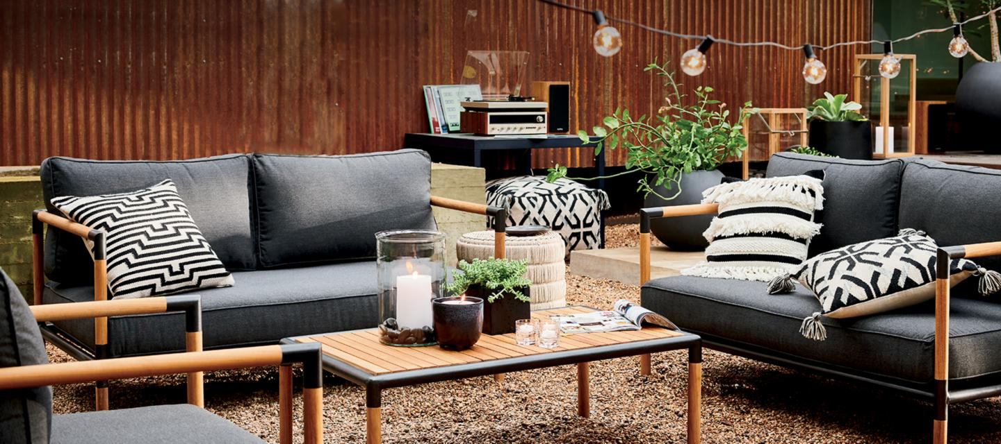 Outdoor furniture teak metal resin crate and barrel