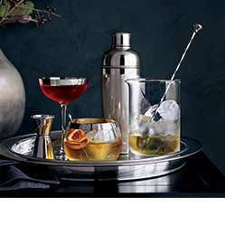 top rated dinnerware our cocktail tools on a metal plater
