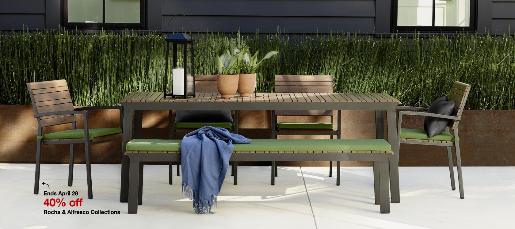 40% off Rocha and Alfresco outdoor collections. Sale ends April 28.