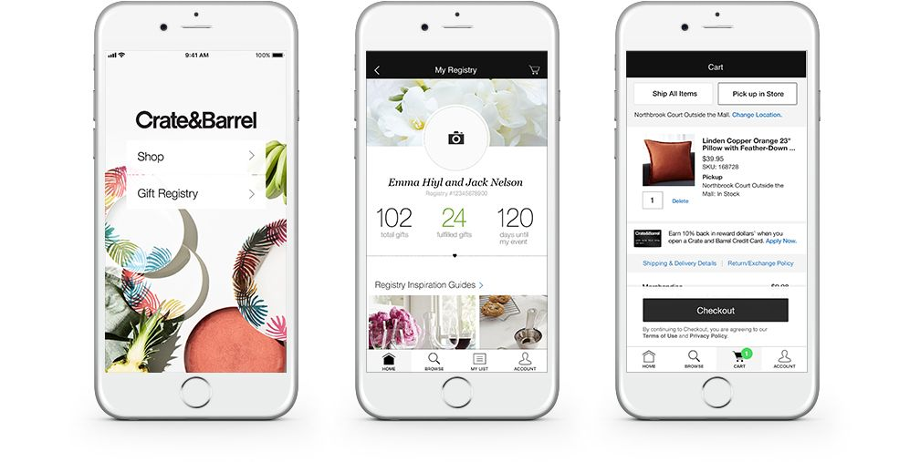 Shopping Wedding And Gift Registry App Crate And Barrel