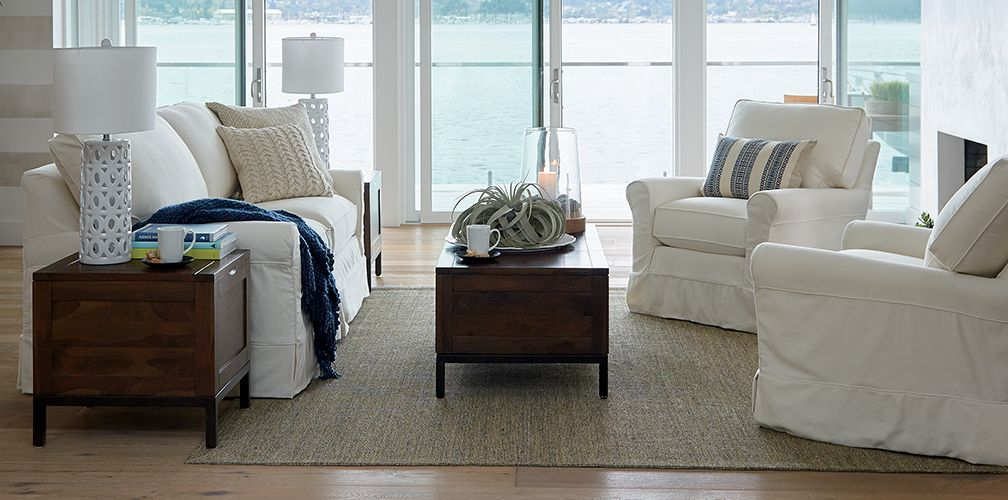 harborside coastal living room crate and barrel