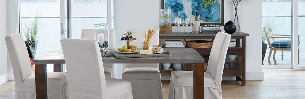 Modern Rustic Dining Room Chairs modern rustic dining room: galvin | crate and barrel