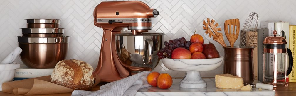 Copper Appliances Kitchen copper & marble kitchen style | crate and barrel