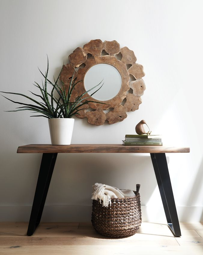 Console table with root mirror crate design studio