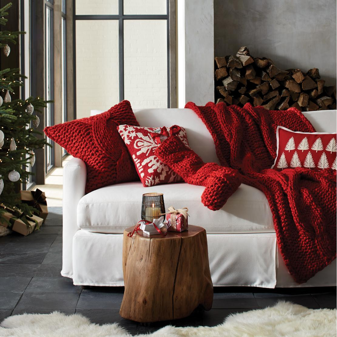 Home decor accessories for a stylish home crate and barrel cozy up to our chunky knits shop christmas decor amipublicfo Images