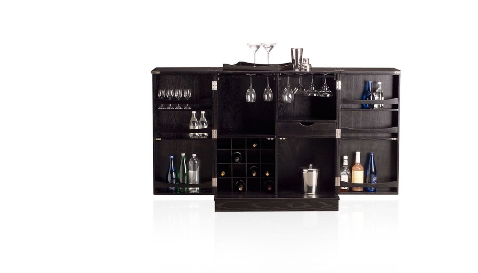 bar cabinet opened