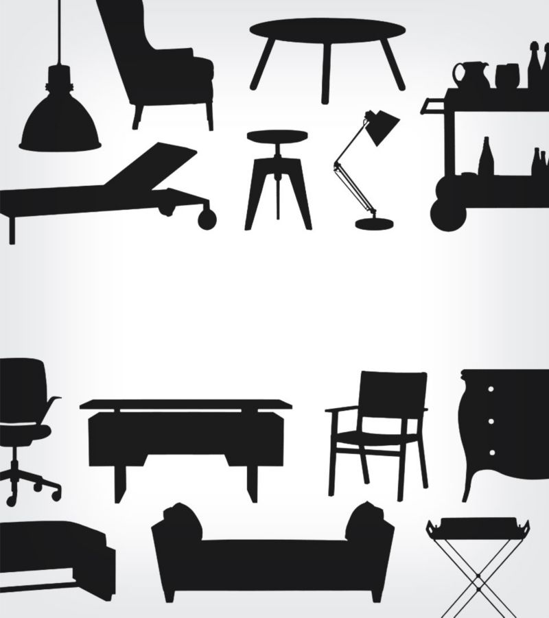 silhouettes of outlet items