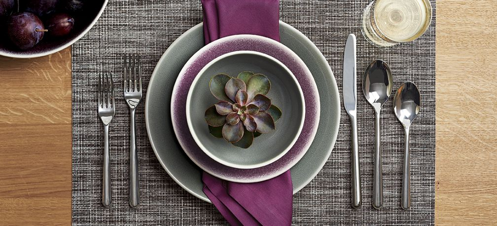 Chilewich Crepe Grey Vinyl Placemat with Fete Violet Napin, Jars Tourron Grey Dinnerware, Jars Tourron Purple Dinnerware and Charlotte Flatware