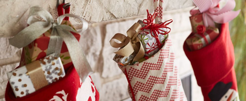 Christmas Stockings Filled with Gifts