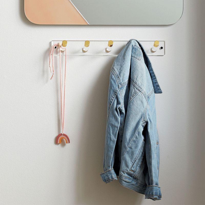 Acrylic wall-mounted coat rack