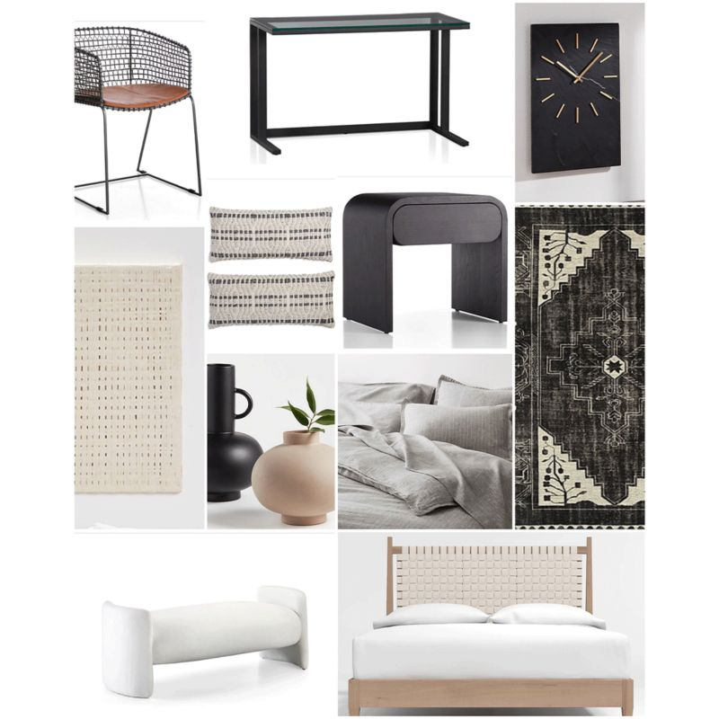 Mood board featuring products used in design