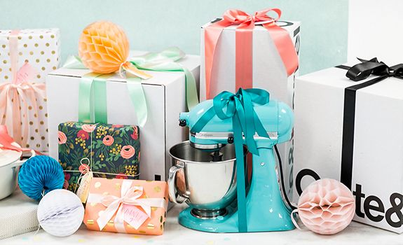 Wedding Registry gifts, wrapped boxes and Aqua KitchenAid Artisan Stand Mixer