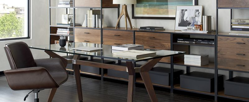 Home office home office organization ideas room Chic Home Office Organization Ideas Crate And Barrel How To Organize The Home Office Crate And Barrel