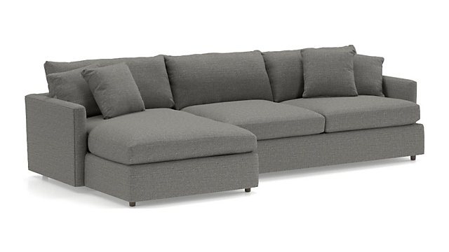 Lounge II 2-Piece Sectional Sofa (Left Arm Chaise, Right Arm Sofa) shown in Taft, Steel