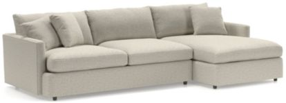 Lounge II 2-Piece Sectional Sofa (Left Arm Sofa, Right Arm Chaise) shown in Taft, Cement