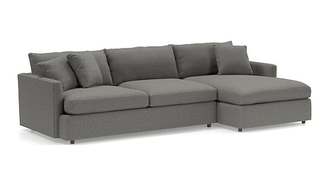 Lounge II 2-Piece Sectional Sofa (Left Arm Sofa, Right Arm Chaise) shown in Taft, Steel