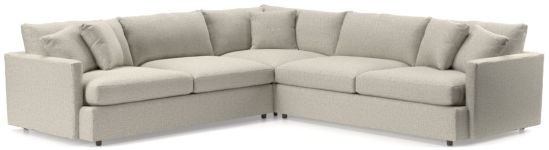 Lounge II 3-Piece Sectional Sofa (Left Arm Sofa, Corner, Right Arm Sofa) shown in Taft, Cement