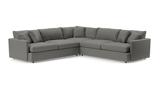 Lounge II 3-Piece Sectional Sofa (Left Arm Sofa, Corner, Right Arm Sofa) shown in Taft, Steel
